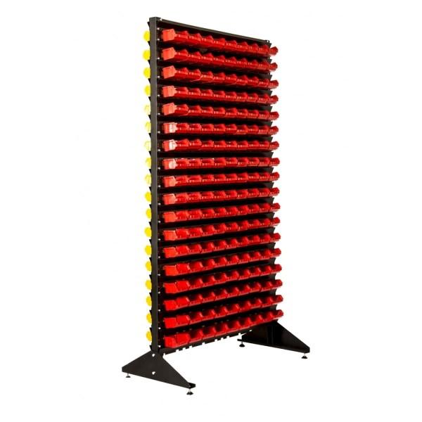 Стеллажи под метизы двухсторонний 1,8 + складские ящики для мелочевки 324 шт