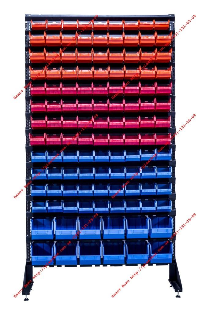 Стенд-стеллаж с кюветами пластиковыми для фитинга
