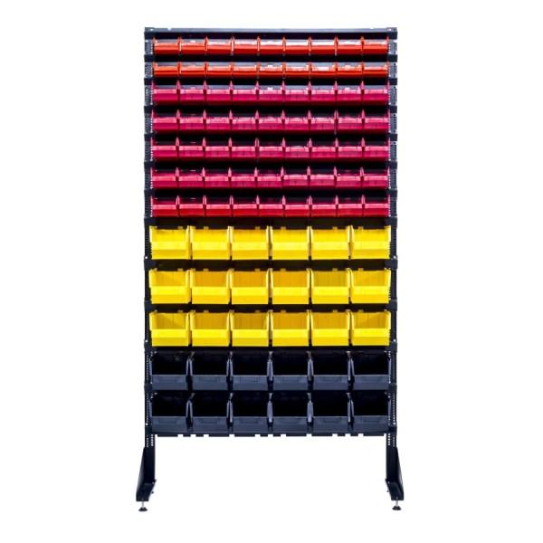 Витрина - стеллаж односторонний 1,8 с контейнерами пластиковыми складскими для гаек
