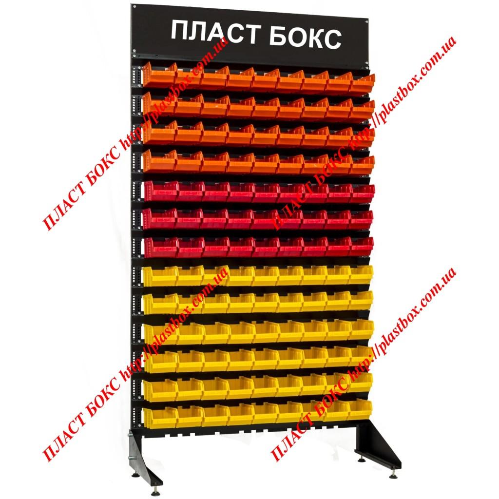 Стеллаж с логотипом (торговой маркой) 1800 мм + ящики под метизы 117 шт