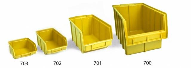Пластиковый ящик для стеллажей 702 желтый 75 х 100 х 155